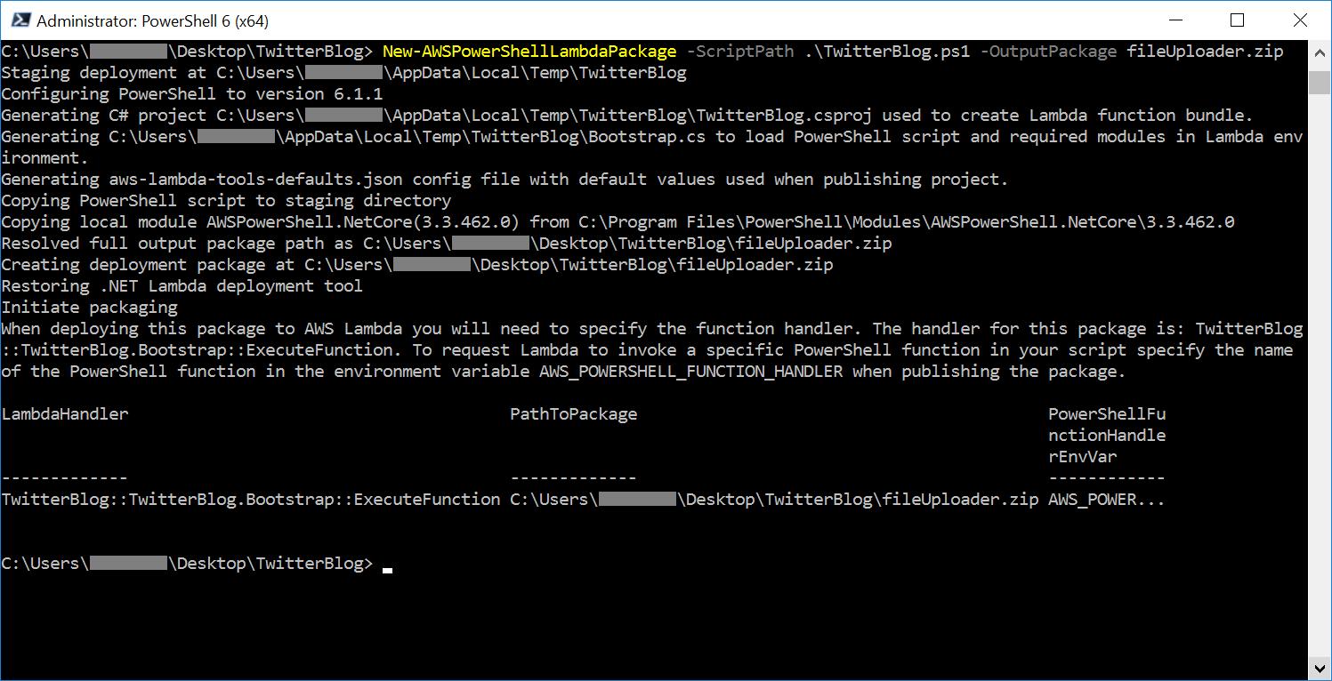 New-AWSPowerShellLambdaPackage example